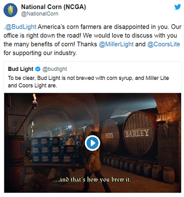NCGA tweet-Bud Light-Super Bowl Ad 2019-DMA Solutions