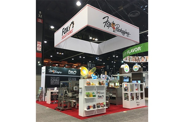 photo of a tradeshow booth for Fox Packaging