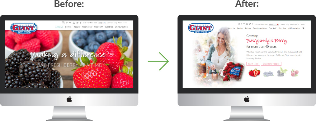 two computers showing a before and after image of the California Giant website