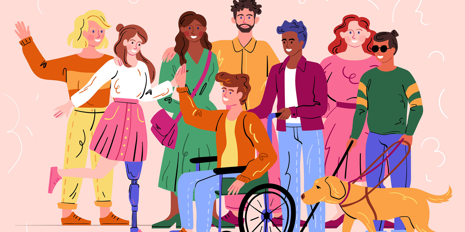 Animated group of diverse people