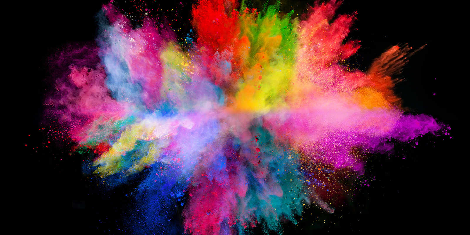 Explosion of colorful powder