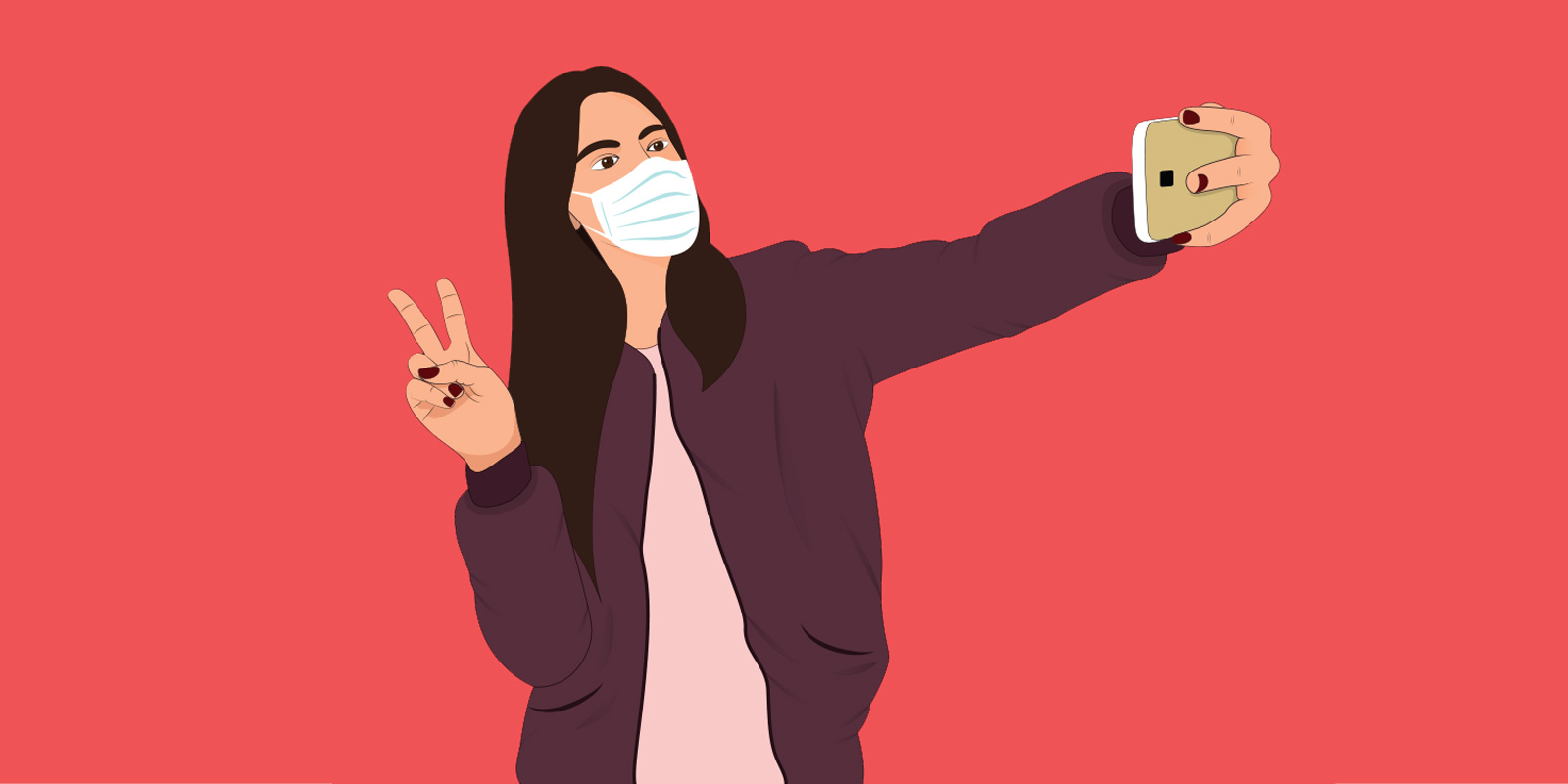 Animated girl taking a selfie