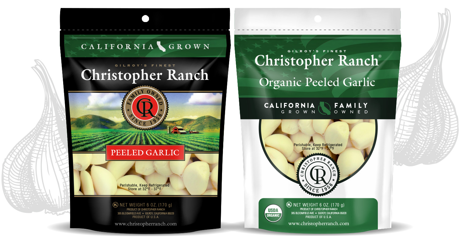 packages of peeled Christopher Ranch garlic