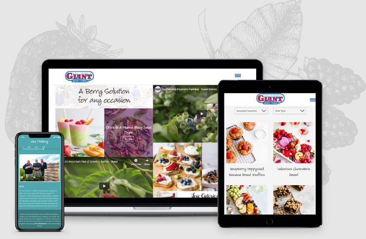 smart phone, tablet, and laptop showing California Giant's new website makeover